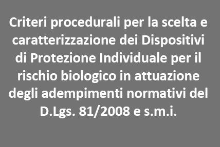 Procedure e linee guida ISPESL per i DPI in rischio biologico