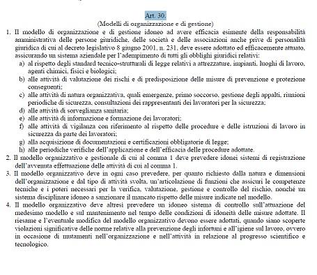 Articolo 30 Testo unico sicurezza sul lavoro